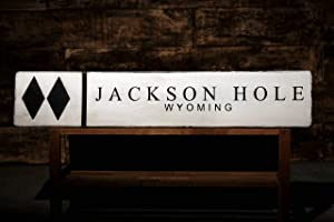 8Jo6Poe Jackson Hole Wyoming Snow Ski Double Diamond Sign Rustic Hand Made Wooden Sign