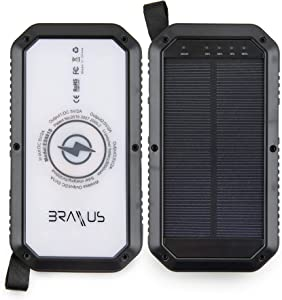 Braxus Solar Power Bank - Wireless Portable Charger Compatible with IOS iPhone & Android - External Battery Pack | 3 USB Input Port - Flashlight. Solar, Waterproof, Dustproof & Shockproof (10,000 mAh)