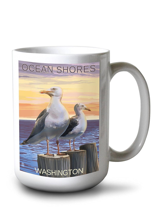 Ocean Shores、ワシントン – Seagulls 15oz Mug LANT-3P-15OZ-WHT-46278 B077RV2MBF  15oz Mug