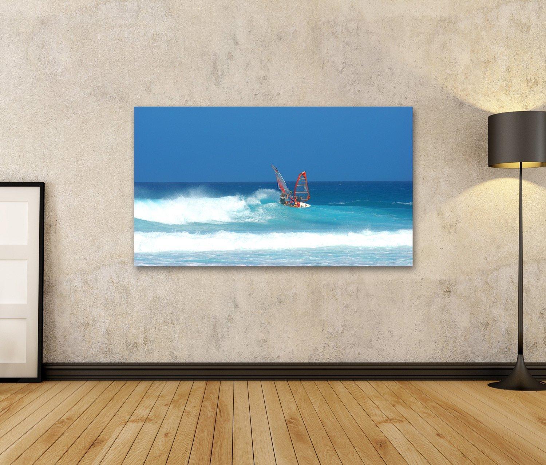 Cuadro Cuadros Tabla de windsurf en Fuerteventura persona que practica surf Impresión sobre lienzo - Formato Grande - Cuadros modernos: Amazon.es: Hogar