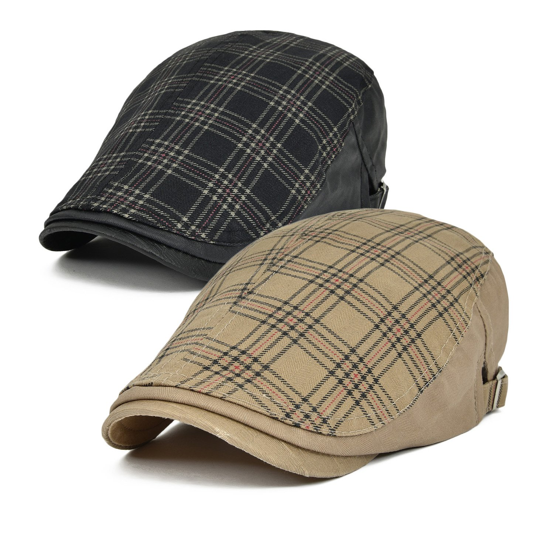 2 Pack Men's Cotton Newsboy Cap IVY Gatsby Flat Driving Beret Hat (026 Black/Light Brown)