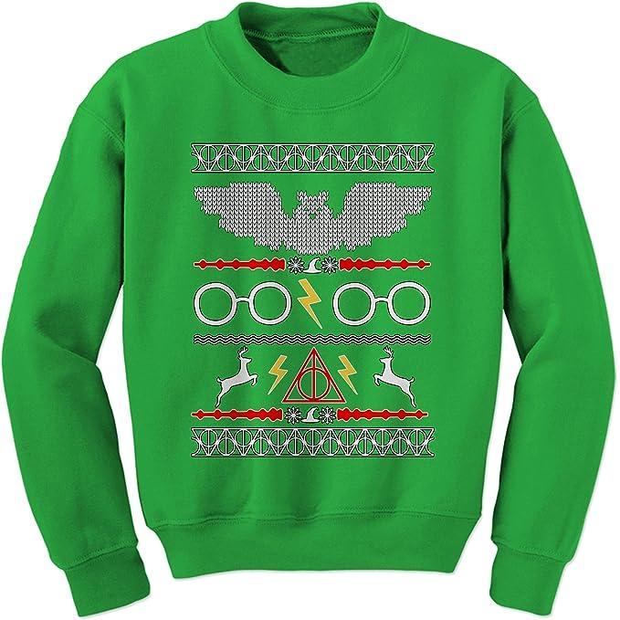 8730992cc Amazon.com: Expression Tees Hogwarts Ugly Christmas Holiday Crewneck  Sweatshirt: Clothing