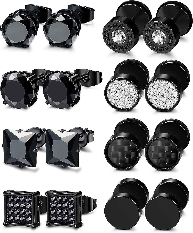 ORAZIO 8 Pairs Stainless Steel Black CZ Stud Earrings Set for Men Women Silver Cubic Zirconia Barbell Earrings Piercing