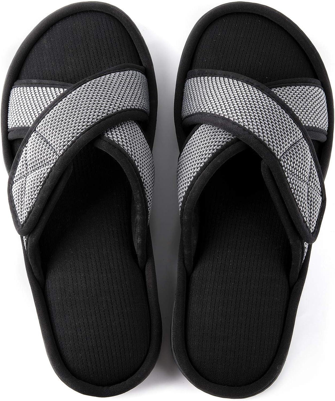 ULTRAIDEAS Men's Memory Foam Slide Slippers, Slip-on Open Toe Cross Brand House Shoes with Anti-Skid Rubber Sole