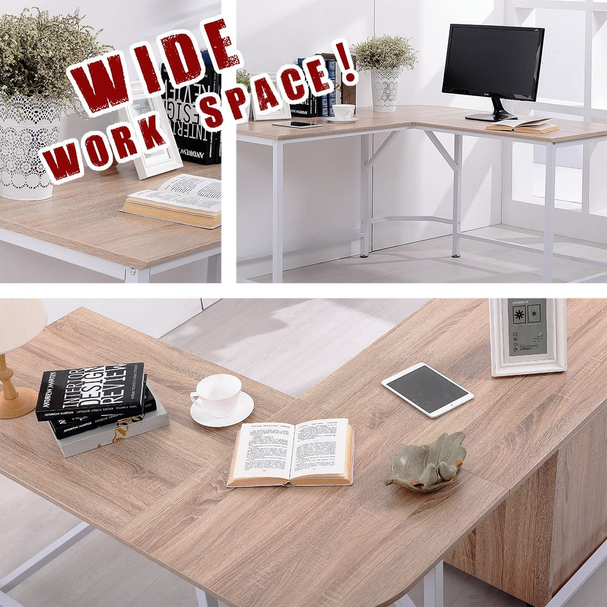 TOPSKY L-Shaped Desk Corner Computer Desk 55 x 55 with 24 Deep Workstation Bevel Edge Design Walnut Black Leg