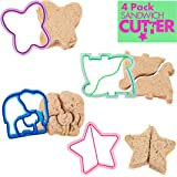 Sandwich Cutters for Kids, 4 pk - Cute Bread Crust & Cookie Cutters with Butterfly, Star, Dinosaur & Elephant - Great for Sch