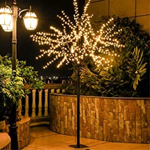 Leruckdite LED Cherry Blossom Tree Light 8ft 600L Warm White Artificial Flower Decoration for Bedroom Indoor Outdoor Home Festival Party Wedding Christmas