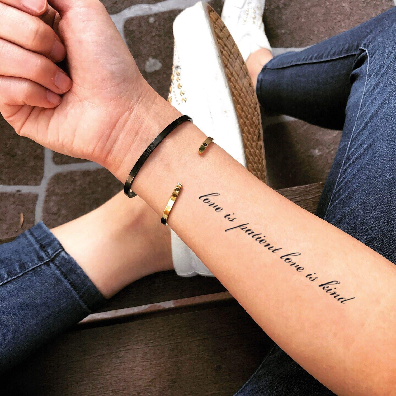 Tatuaje Temporal de El amor es paciente, el amor es amable (2 ...