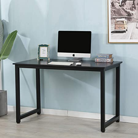 Wooden Computer Table for Home Office, New Contemporary Design Walnut Tabletop Computer Desk with Sturdy Stylish Metal Track Legs, Black