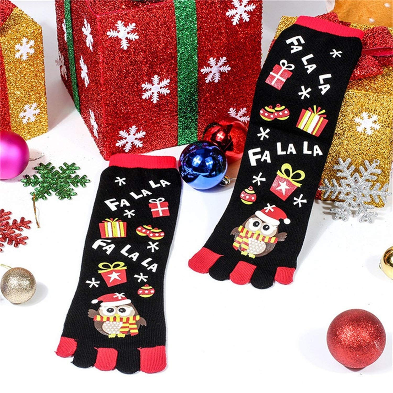 Funny Christmas Winter Warm Kawaii Printed Five Finger Comfortable Soft Socks, A at Amazon Womens Clothing store: