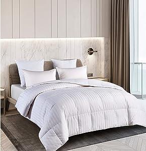 Blue Ridge Home Fashions Royal Luxe Unisex Damask Stripe White Down Comforter-King White