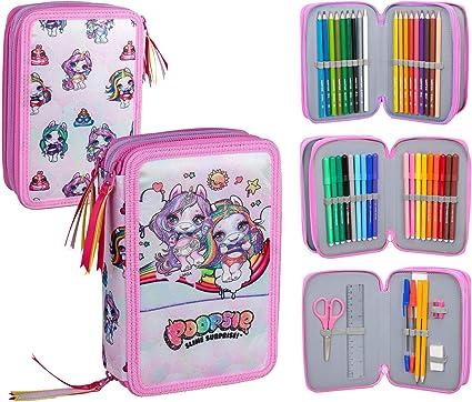 Poopsie - Estuche triple relleno, 44 accesorios escolares, 20 centímetros: Amazon.es: Oficina y papelería