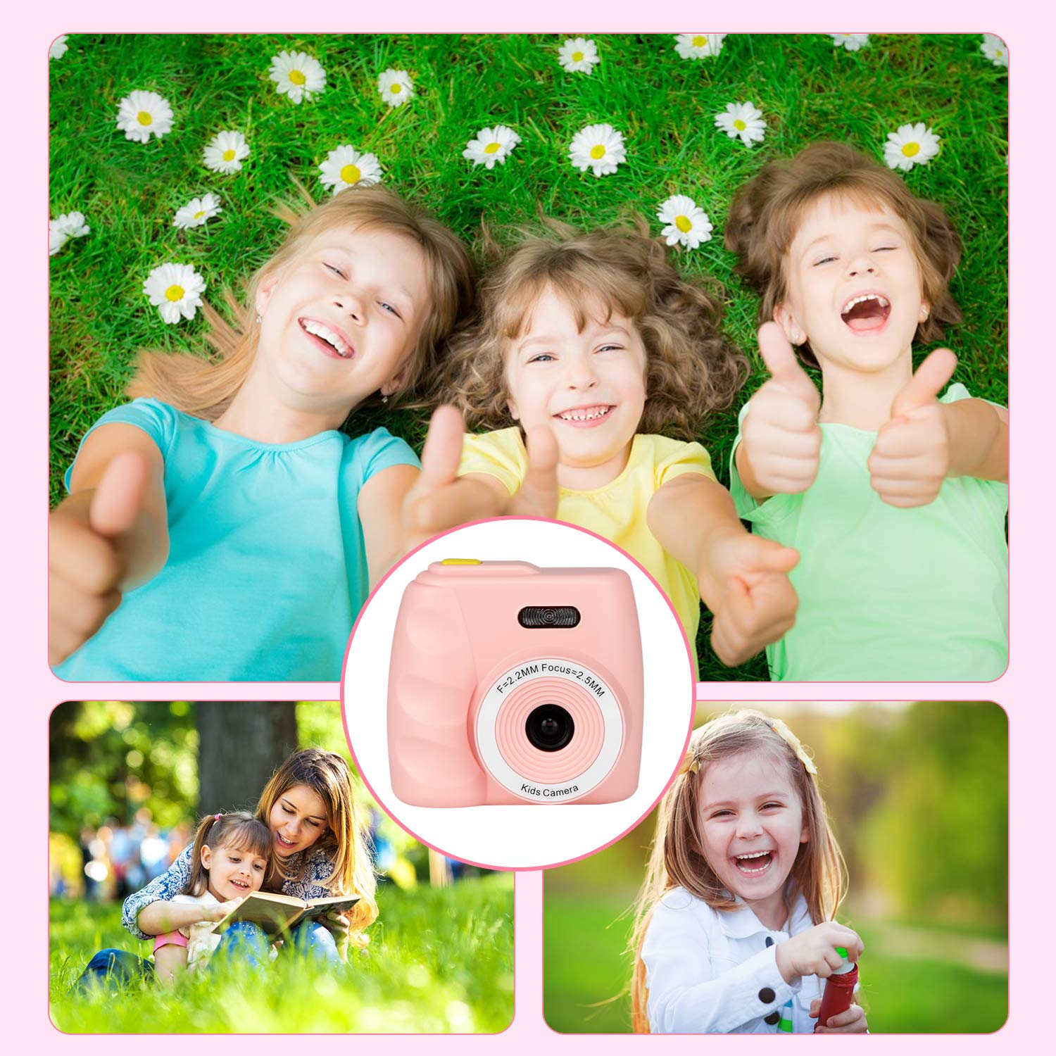 Kids Camera Gifts for 4-8 Year Old boys or girls, Great Gift Mini Child Camcorder for children with Soft Silicone Shell and 5 Mega pixel front lens 2.0 inch HD screen (32G TF card not included) by eyesen (Image #6)