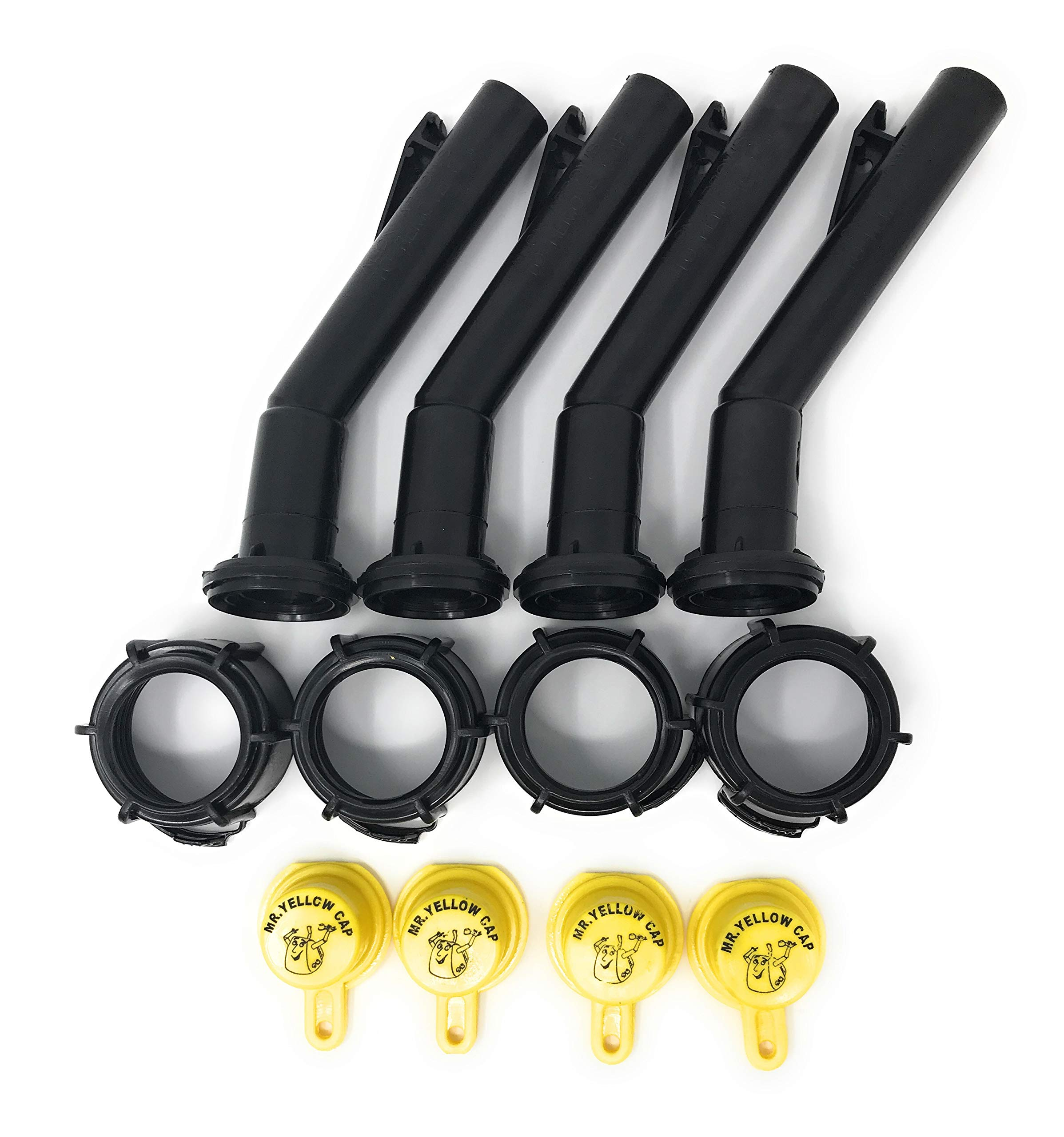 4 - Mr. Yellow Cap Fuel Gas Can Jug Spouts Nozzles, Rings & Caps, replaces Blitz 900302 900092 900094 Old Style - Please Read Description Thoroughly Before Ordering! Thank You