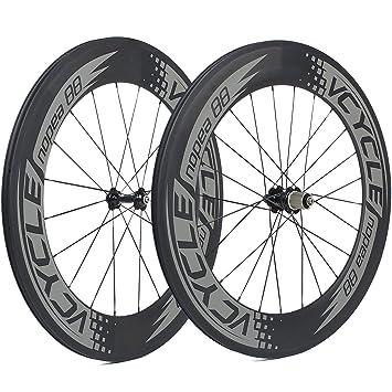 VCYCLE Nopea 88mm Tubular 700C Fibra de Carbono Bicicleta Ruedas 23mm Ancho Basalto Superficie de Frenado Shimano o Sram 8/9/10/11 Velocidades: Amazon.es: ...