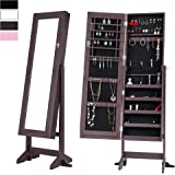 Cloud Mountain Black Jewelry Armoire Mirrored Jewelry Cabinet Lockable Storage Organizer