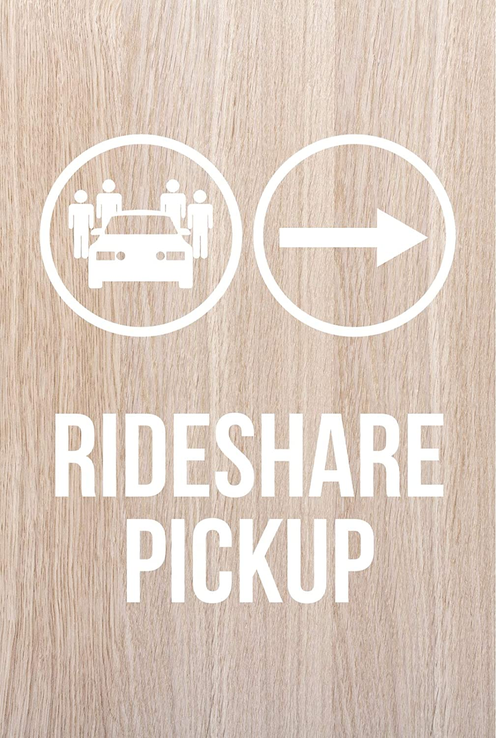 Dark Wood Plastic iCandy Products Inc Rideshare Pickup Rightwards Arrow Hotel Business Office Building Sign 12x18 Inches