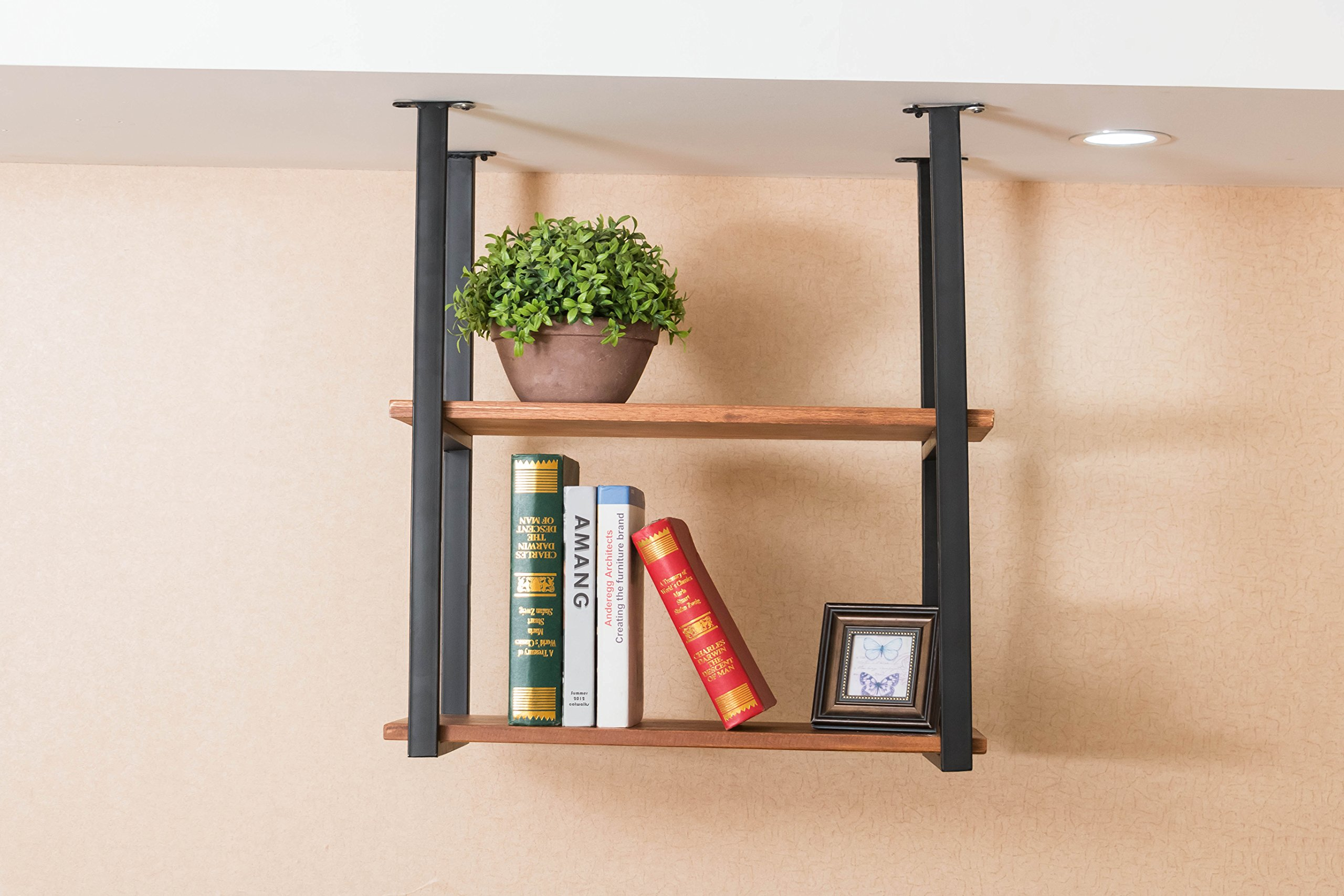 Rustic Kitchen Wood Wall Shelf,Wall Mounted Hanging Liquor Display Bar Shelves Wine Bottle Holder Rack Multi Use for Home Kicthen Coffee Storage & Organization Product (2-Layer L23.6'' D12''xH24.5'') by WGX