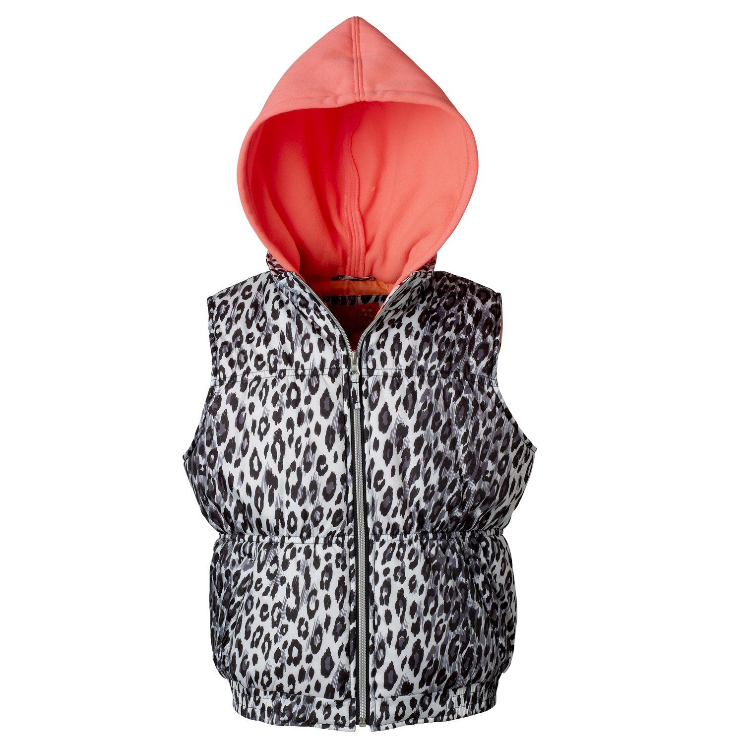 Pink Platinum Puffer Vest For Toddler Girls With Fleece Hood & Cheetah Print