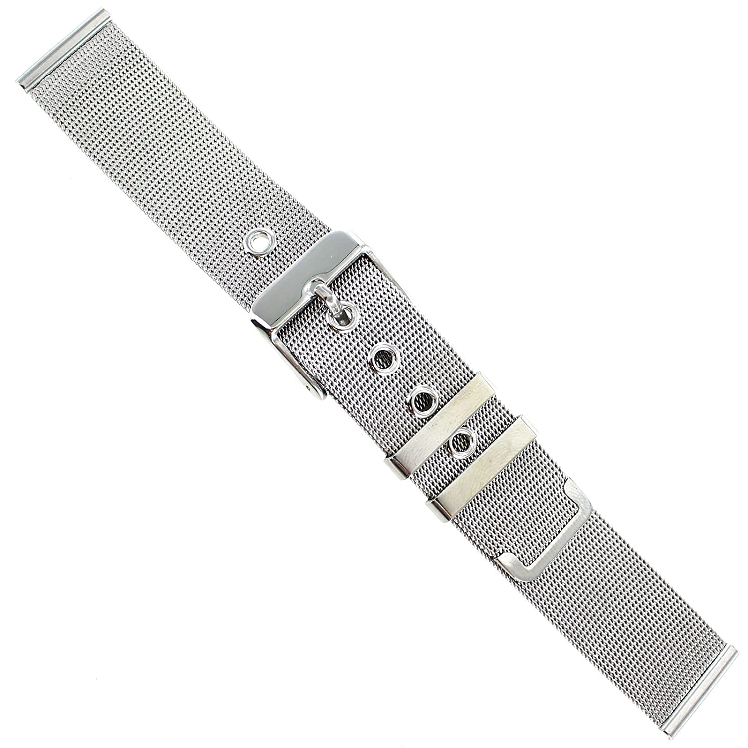 18 mm MilanoシルバートーンTwo Piece Fine Mesh with Eyelets Mens Watch Band me002  B06XRQJ3PH