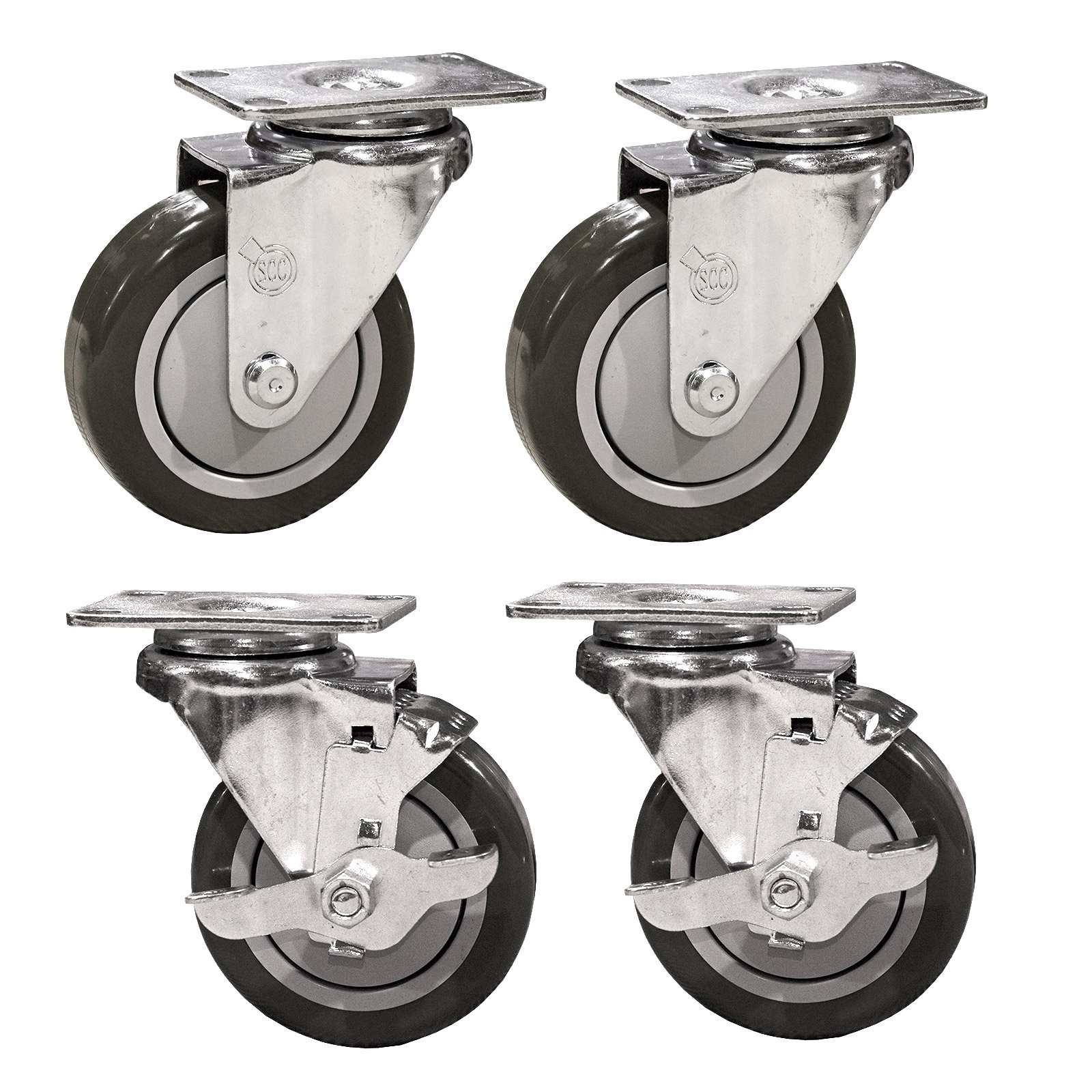 Service Caster SCC-SS20S414-PPUB-2-TLB-2 Stainless Steel Swivel Casters with Brakes, Non-marking Polyurethane Wheel, 4'' Size (Pack of 4)