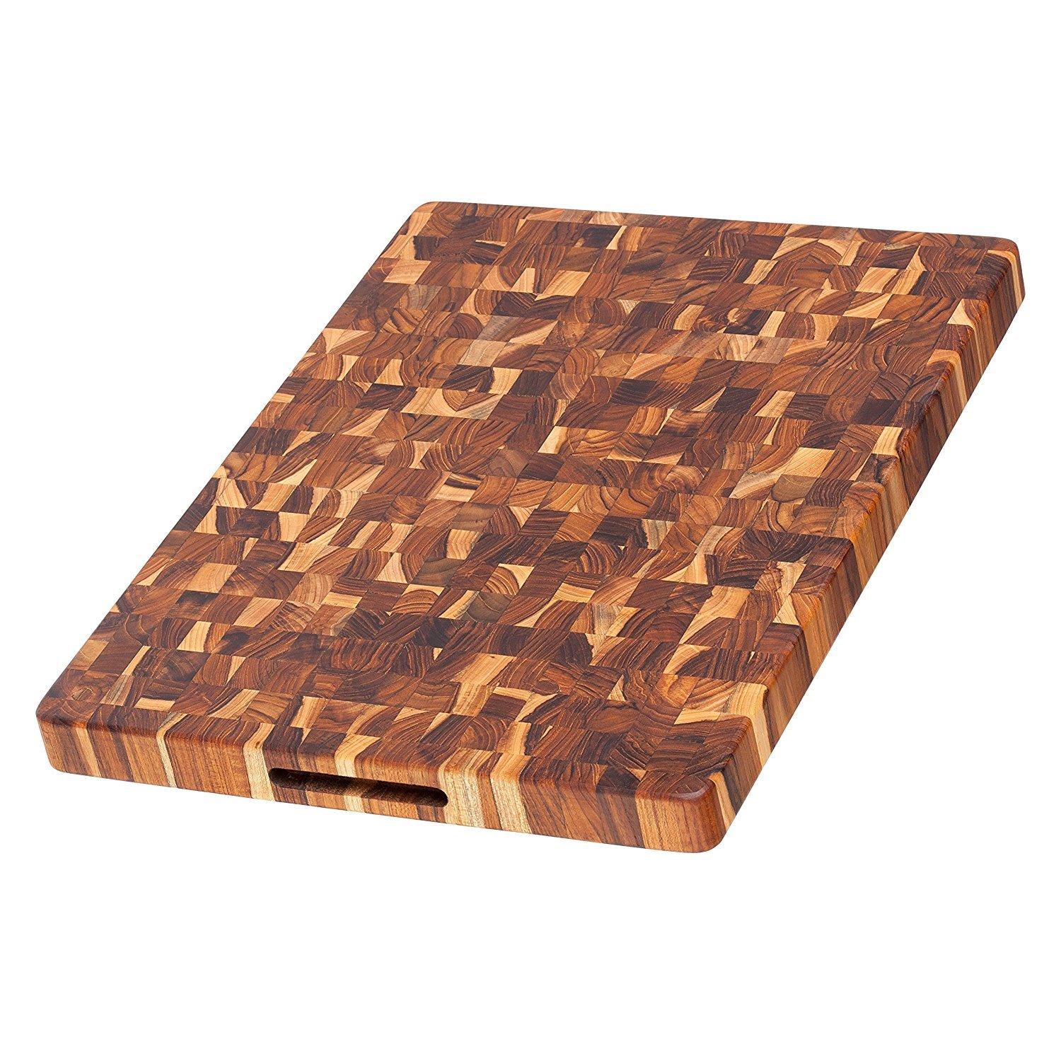 Teak Cutting Board - Rectangle Butcher Block With Hand Grip ( 20 x 15 x 1.5 in.) - By Teakhaus by Teakhaus