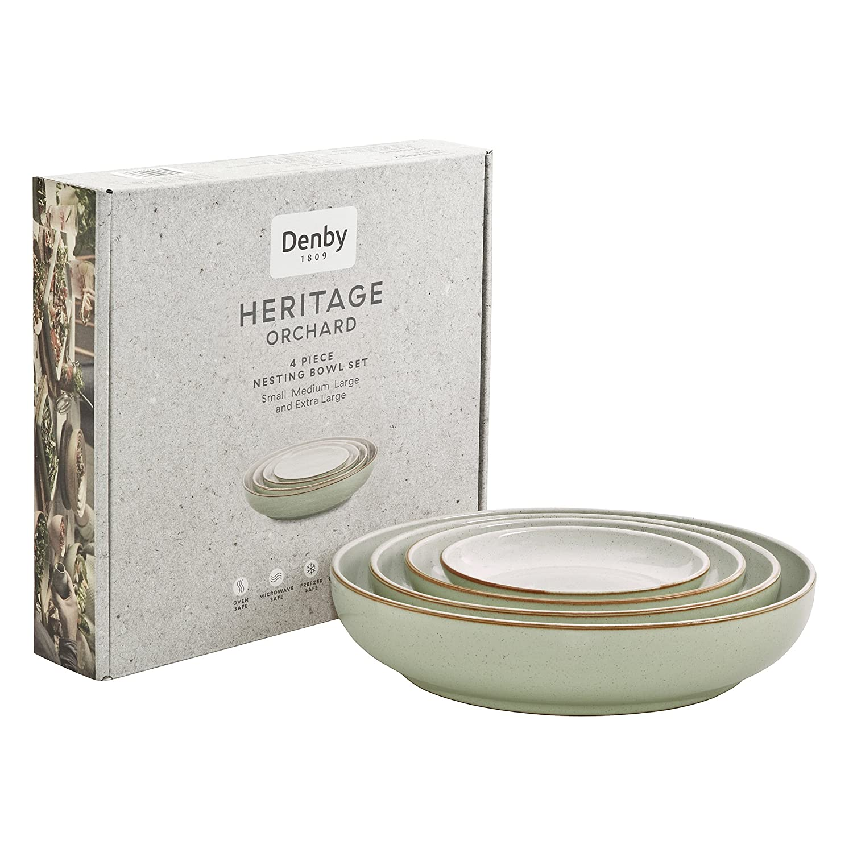 Denby Heritage Orchard Nesting Bowl, Stone, Apple Green, Set of 4 357040650