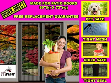 Magnetic Screen Door For Patio Doors   Left Middle Right Opening Premium  Mesh Curtain   80u0026quot