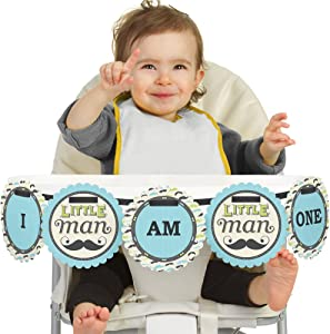 Big Dot of Happiness Dashing Little Man Mustache Party 1rst Birthday Highchair Decor - I Am One - First Birthday High Chair Banner
