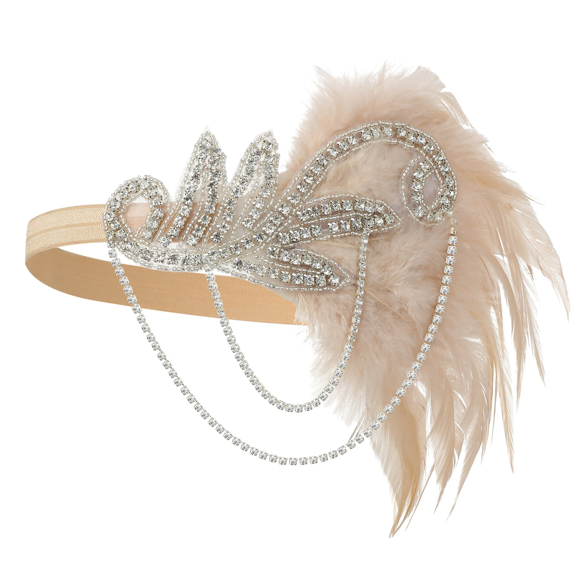 1920s Gatsby Flapper Feather Headband 20s Accessories Crystal Beaded Wedding Headpiece (1-Pink)