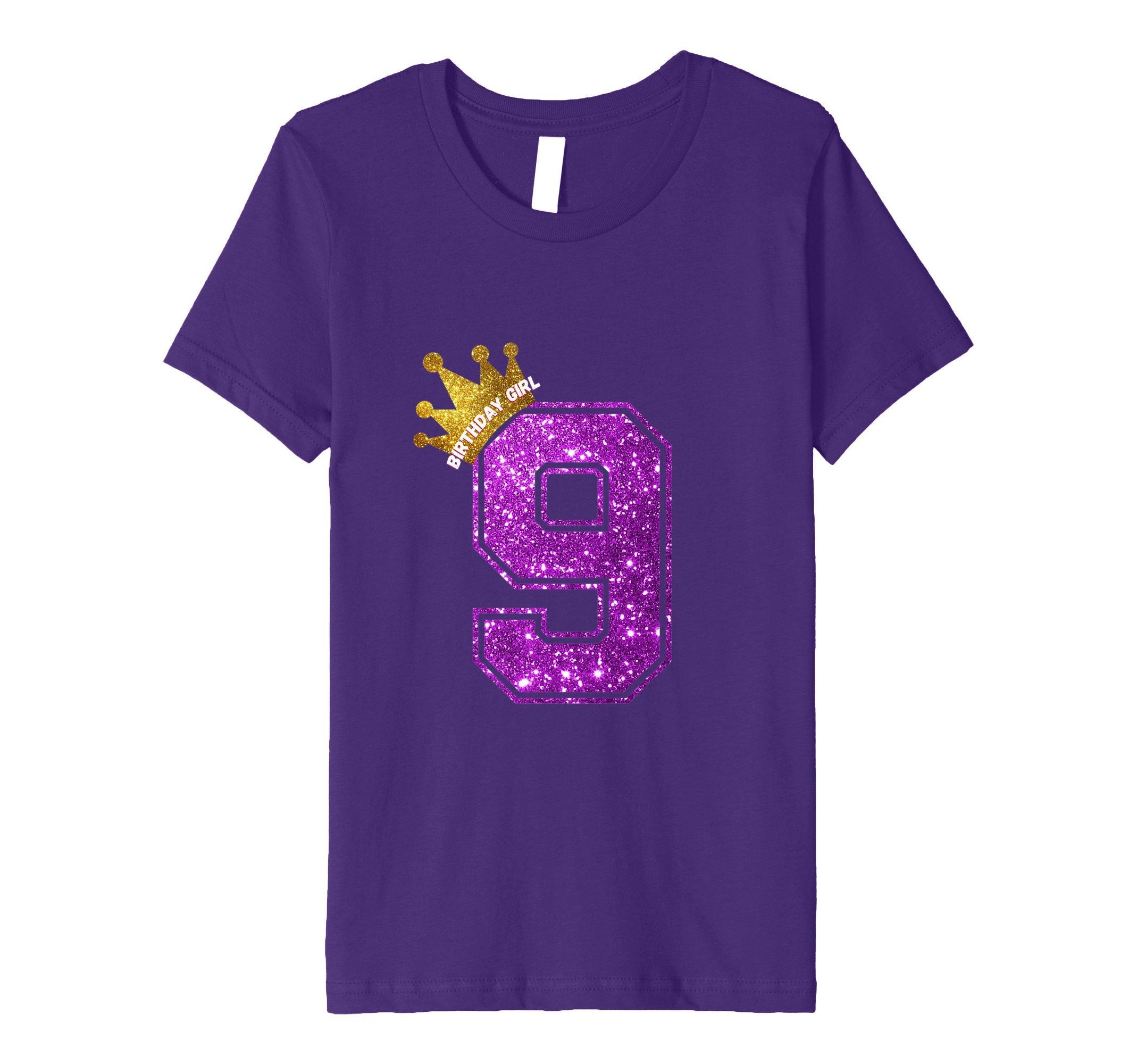 Kids Happy Birthday Gift Shirt - Girls 9th Birthday Shirt 8 Purple