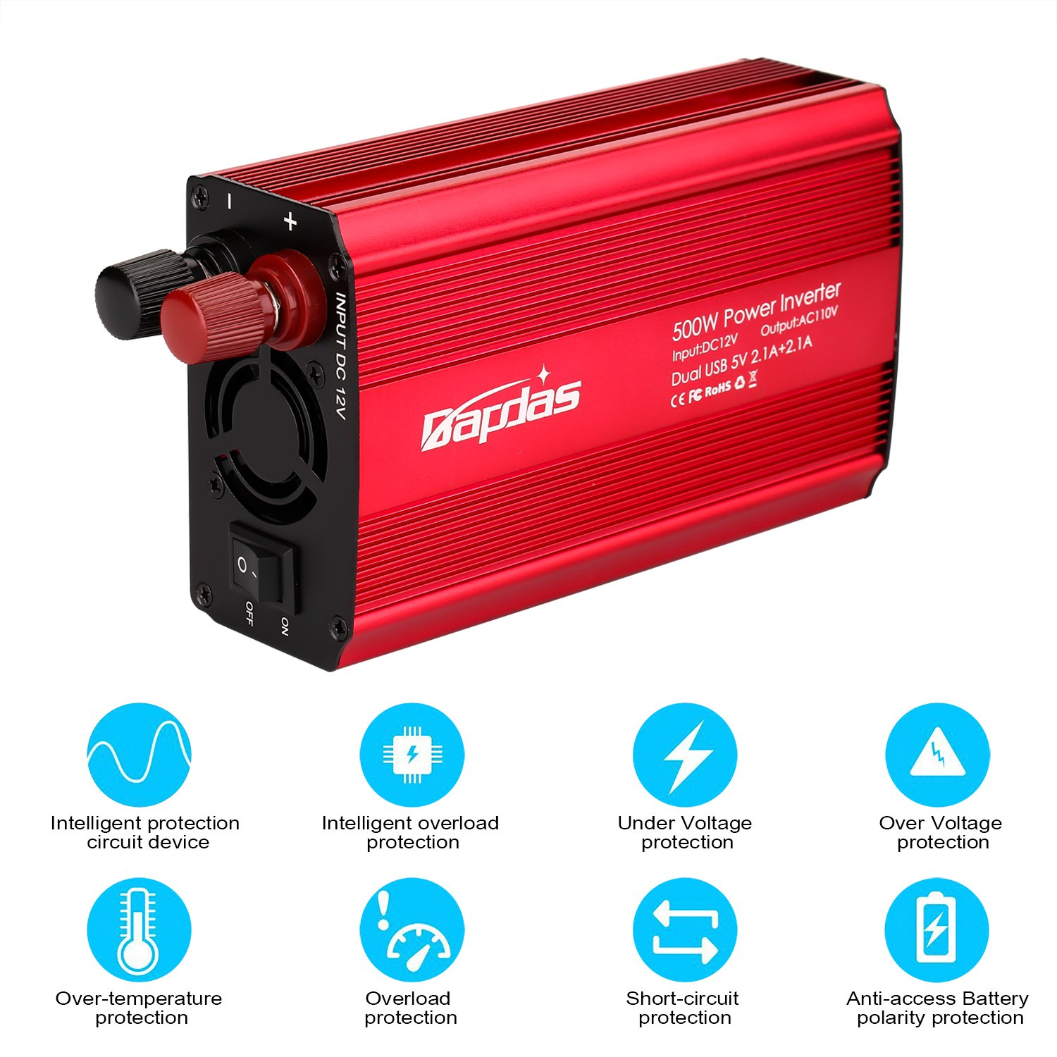 Bapdas 500W Power Inverter Converter DC 12V to AC 110V Car Charger with 4.2A 2 USB Ports Car Power Adapter-Red by Bapdas (Image #3)
