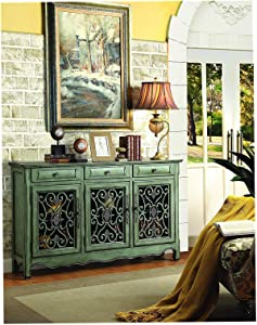 Wood & Style Furniture 3-Door Accent Cabinet Antique Green Home Office Commerial Heavy Duty Strong Décor