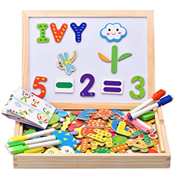 INNOCHEER Wooden Magnetic Puzzles, Letters/Numbers/Shape 110 Pieces with 5 Colored Dry Erase Markers Set - Learning & Educational Game Toy for Kids
