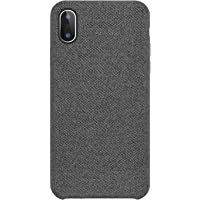 iPhone X Case Fabric Back Cover Phone Protective PC Plastic Hard Case Supports Wireless Charging