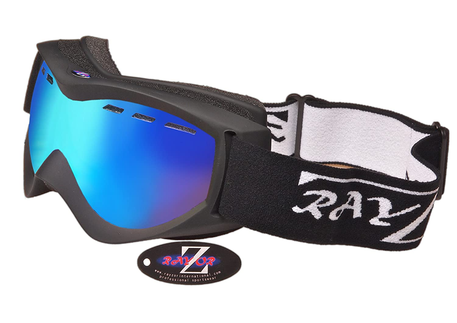 Anti Fog Ventilated Skiing and Snowboard Goggles Snowmobiles and Snowboards Comfortable Anti Glare Vented Snow Eyewear Rayzor Ski Snowboarding Goggles Shatterproof For Skis UV400 Protection