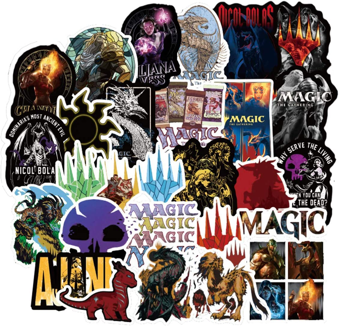 MagicTheGathering Stickers/Decals (55 pcs) for Laptop Skateboard Snowboard Water Bottle Phone Car Bicycle Luggage Guitar Computer as Gift(Magic)