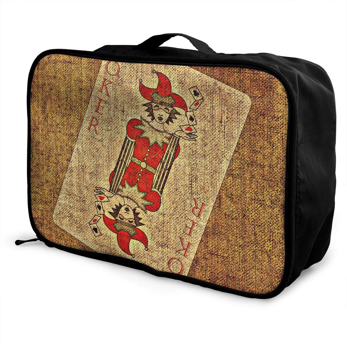 ADGAI Solitaire Red Joker Joker Canvas Travel Weekender Bag,Fashion Custom Lightweight Large Capacity Portable Luggage Bag,Suitcase Trolley Bag