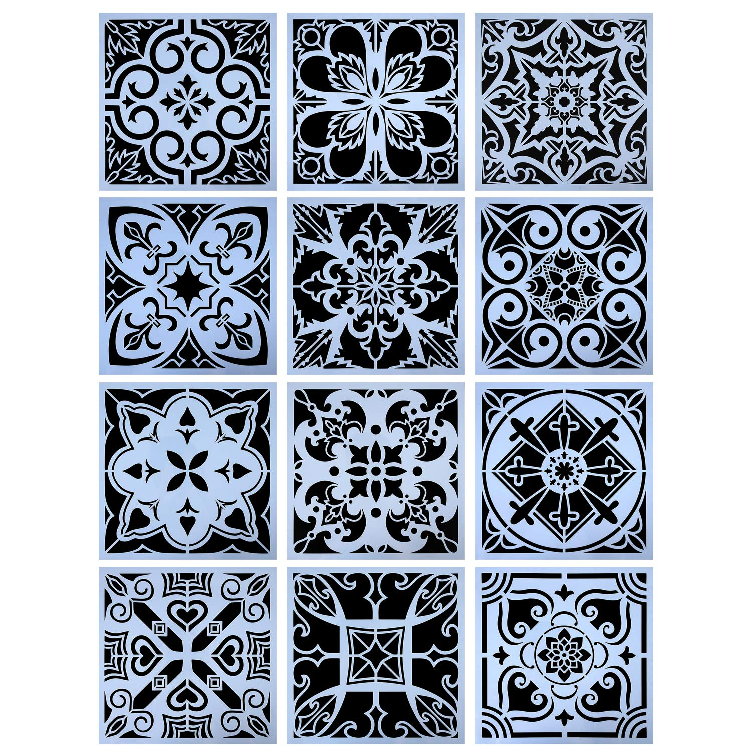 YUEAON 12-Pack (12x12Inch) Painting Stencils for Floor Wall Tile Fabric Furniture Wood Burning Art&Craft Supplies Mandala Template-reuseable by YUEAON