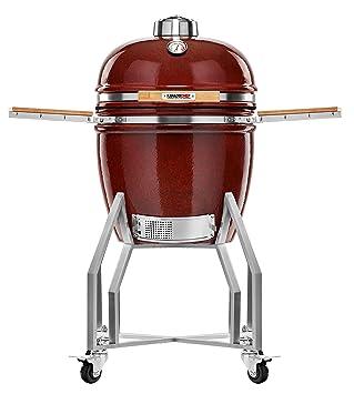Kamado Chef Barbacoa de cerámica 1900 Prestige Red Smooth, Parrilla de carbón para brasear, Hornear, ahumar - Una Experiencia Culinaria Extraordinaria: ...