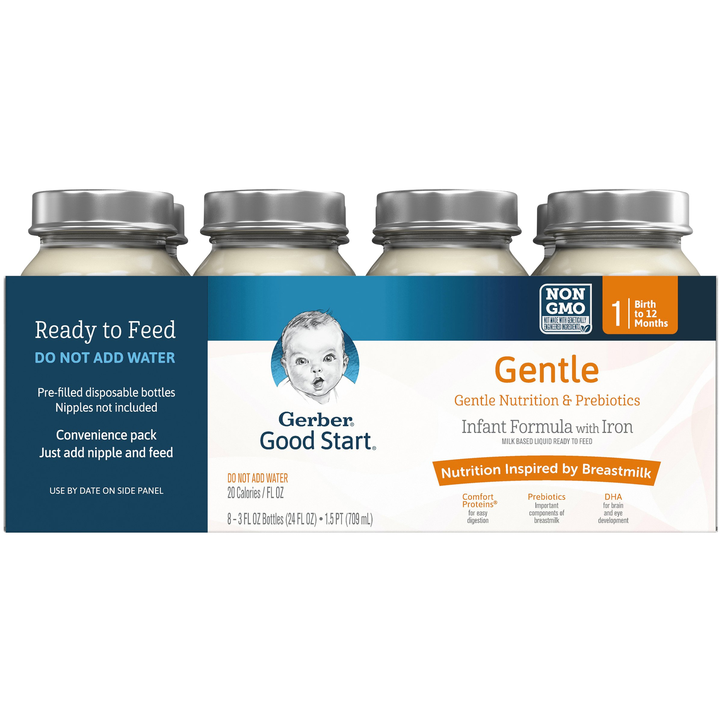 Gerber Good Start Gentle Non-GMO Ready to Feed Infant Formula Nursers, Stage 1, 3 Fluid Ounce (Pack of 48)
