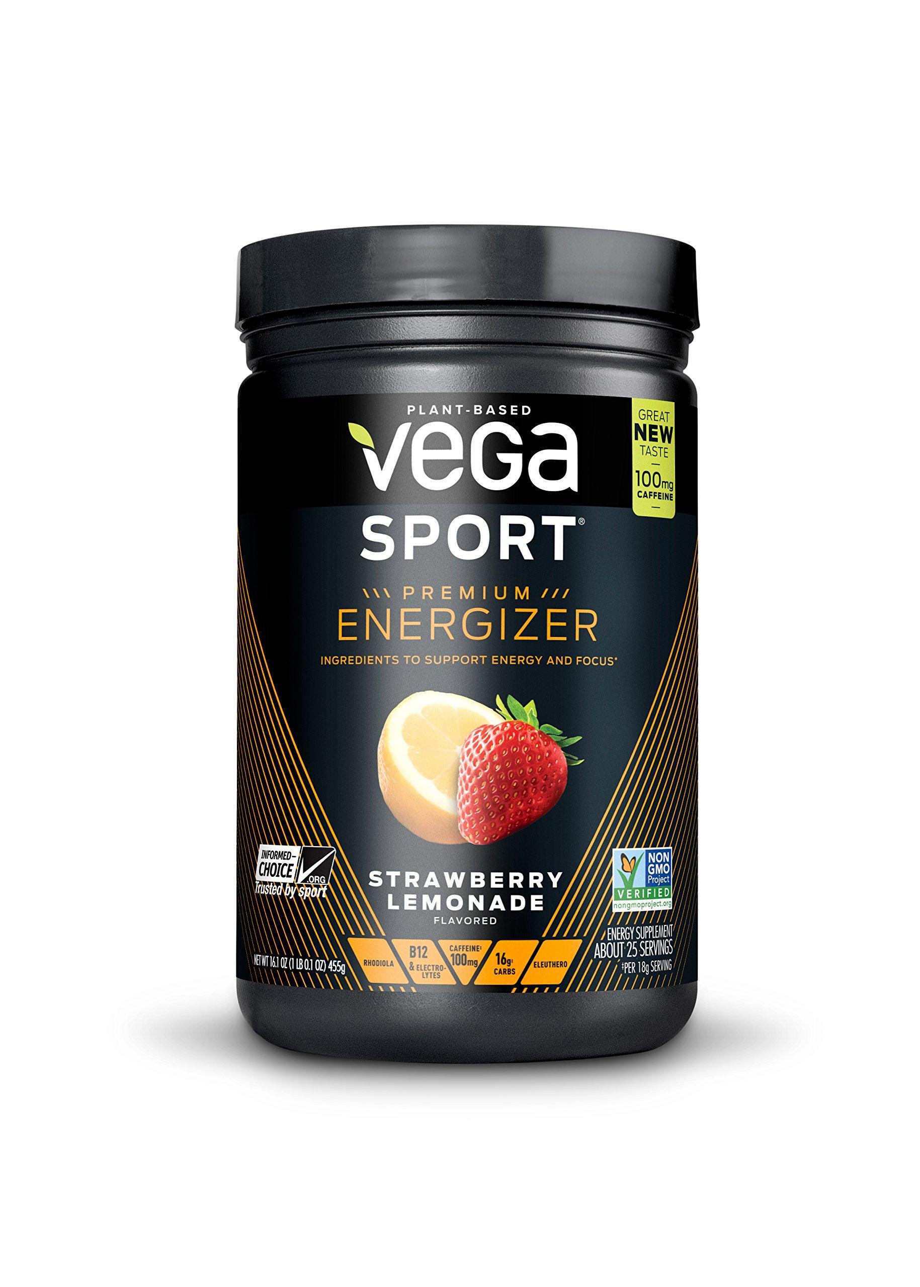 New Vega Sport Premium Energizer Strawberry Lemonade (25 Servings, 16.1 oz) - Vegan,  Gluten Free, All Natural, Pre Workout Powder, Non GMO