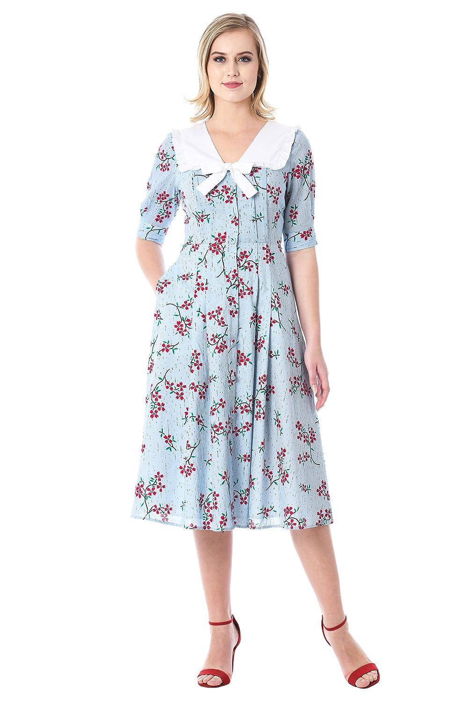 50 Vintage Inspired Clothing Stores eShakti Womens Ruffle collat Floral Print Cotton Shirtdress $69.95 AT vintagedancer.com