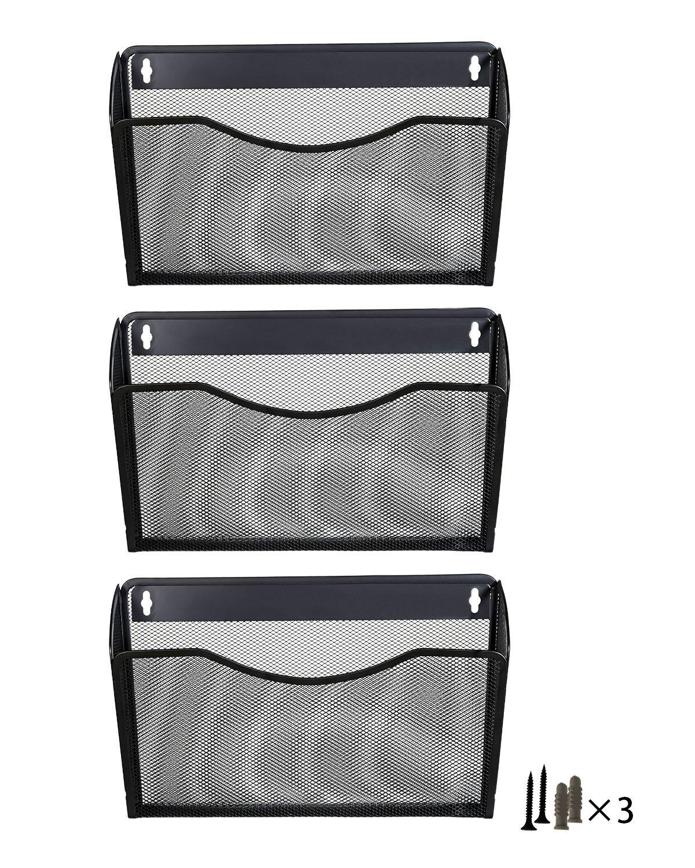 PAG 3/Taschen zum Aufh/ängen Datei Holder Organizer Wandhalterung Metall Magazin Rack 3 Pack-Black