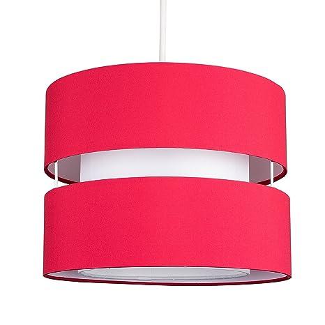MiniSun - Moderna pantalla para lámpara de techo Sophia - Cilíndrica a dos niveles con acabado en rojo
