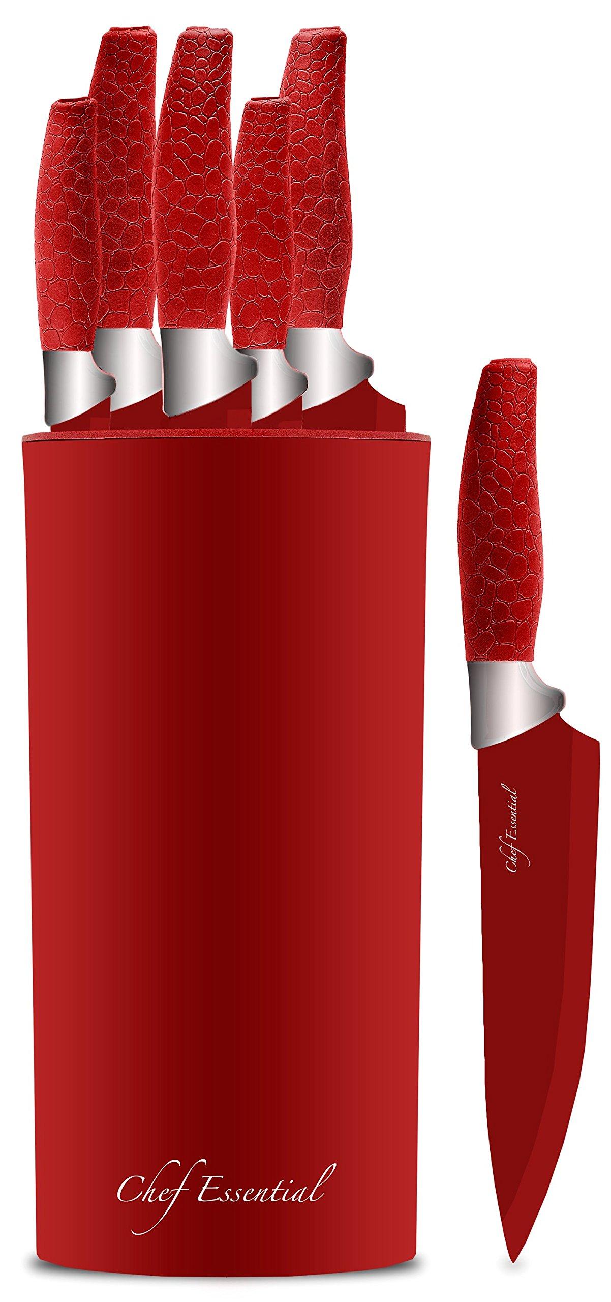 Chef Essential 7 Piece Knife Block Set, NEC Series, Red