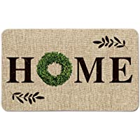 Artoid Mode Home Quote Boxwood Wreath Decorative Doormat, Holiday Farmhouse Low-Profile Floor Mat Switch Mat for Indoor…