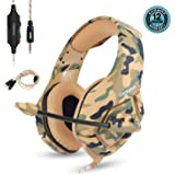 Gaming Headset for PS4 Nintendo Switch Xbox One S PC Onikuma Gaming Headphones with Noise Canceling Mic Over Ear Volume Control by ZaKitane (Yellow Camo Headset)