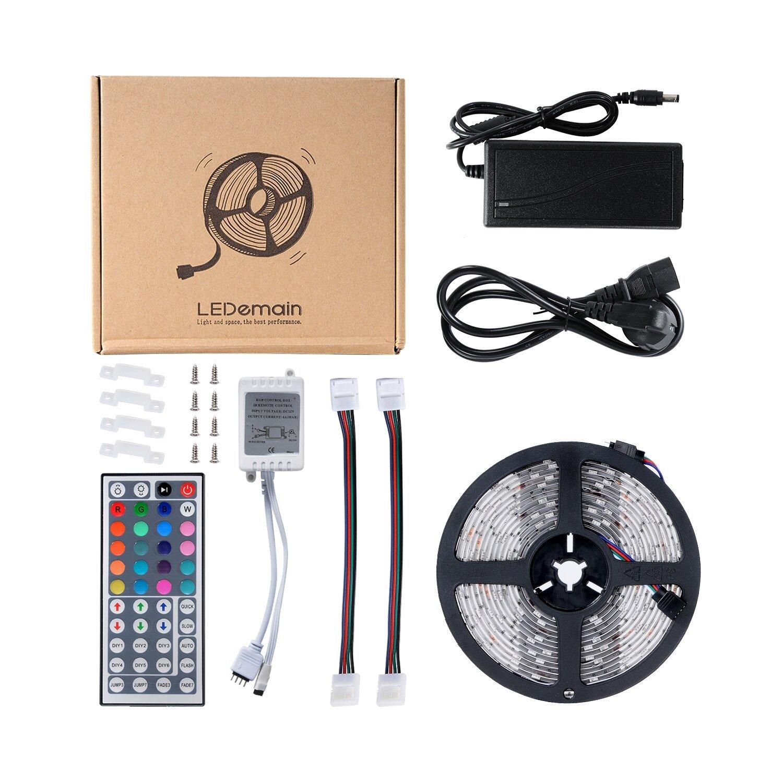 LEDemain Strip Lights 16.4ft (5M) 150 Unit Waterproof 5050 Color-Changing Flexible LED Lighting Kit + 44 Keys IR Remote +12V 6A us Power Supply