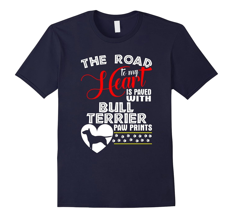 Bull Terrier Paw Prints Dog T-Shirt-Art